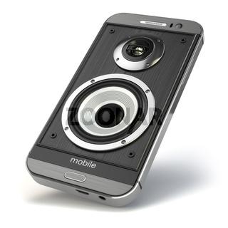 Musical smartphone.Mobile phone music app. Cellphone and loudspeakers.