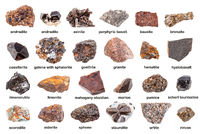 set of various brown unpolished minerals with name