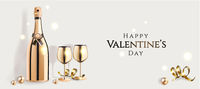 Happy Valentine's day poster with luxury golden champagne bottle and wine glasses and decorative elements, 14 February festive card, vector illustration.