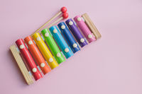 Rainbow Colored Wooden Toy Xylophone on pink bacground. toy glockenspiel made of metal and wood
