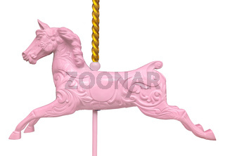 Isolated Pink Carousel Horse
