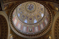Wonderful paintings, murals and frescoes on the Dome of Catholic Cathedral in Budapest.