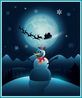 Christmas winter snowman background greeting card