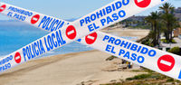Beach closed caused by COVID-19. Spain