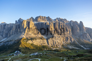 View of Gardena Pass and Sella group from Pizes de Cir, Italy