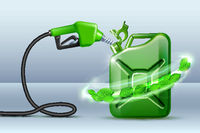 Biofuel. Gas pump nozzle and Green jerrycan with green leaves. Biofuel concept.
