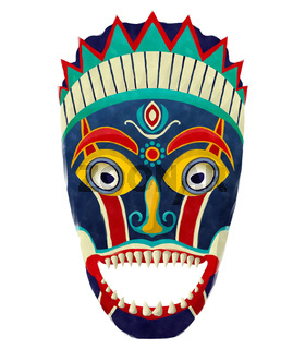 Watercolor tribal mask
