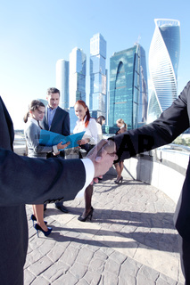 Business people meeting outdoors