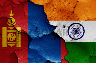 flags of Mongolia and India painted on cracked wall
