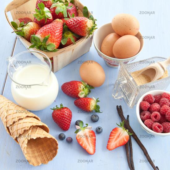 Zutaten zur Zubereitung von Eis