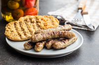 Grilled white sausages.