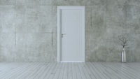 Closed white door in empty room with concrete wall realistic 3D rendering