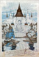 Zeichnung aus dem Buch Phra Malaya mit dem Titel Malayas Predigt zu den Göttern