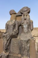 Statues of goddess Ma'at and god Toth in the Mortuary Temple of Ramesses III