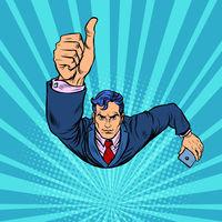 A businessman with a smartphone like, thumbs up. Flying like a superhero