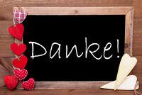 Balckboard With Heart Decoration, Text Danke Means Thank You