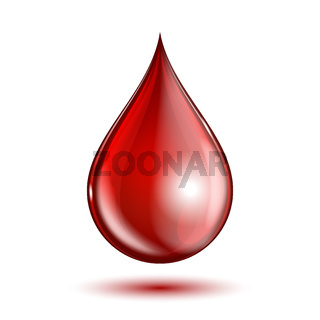 Blood drop isolated on white background.