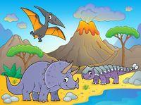 Dinosaurs near volcano image 1