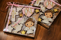 Beautiful painted gingerbread cookies for the celebration of the baptism of the child.