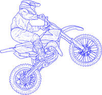 Motocross drivers silhouette sketch on white background