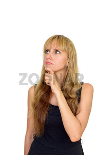 Portrait of beautiful blonde businesswoman thinking and looking up