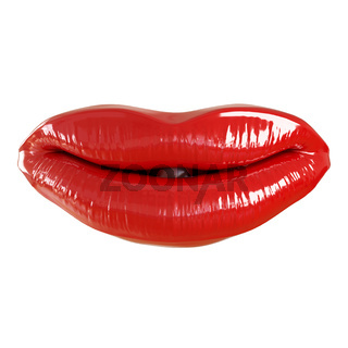Red lips with slightly ajar mouth on a white background. 3d rendering
