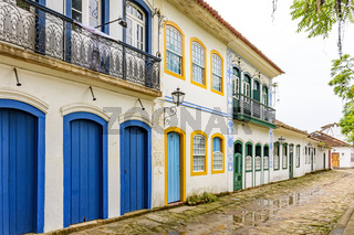 Old houses facades in colonial style on the old and historic city of Paraty