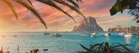 Cala d'Hort beach at sunset. Ibiza Island