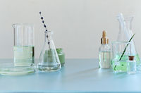 Various bottles on table in laboratory