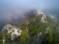 Moorish Castle in fog Portugal