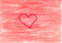 Von Hand mit gezeichneter Aquarell Hintergrund in Rot mit einem roten Herz als Zeichen der Liebe