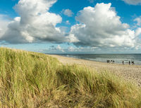 Beach sand with group of people walking at coastline. Blue sky and dramatic clouds at waterfront in soft evening sunset light. Hvidbjerg Strand, Blavand, North Sea, Denmark.