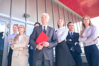 Business people looking at future