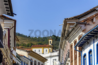 Old historic houses and churches in colonial architecture from the 18th century