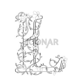 Letter L floral sketch