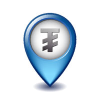Mongolian tugrik symbol on Mapping Marker vector icon.