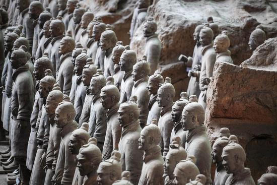 closeup of the terra cotta warriors group
