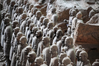 closeup of the terra cotta warriors group