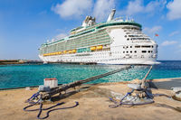 Cruise ship  anchored at coast of ialand Bonaire