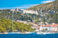 Town of Hvar and Fortica fortress view from the sea