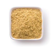 Top view of bowl with mustard powder