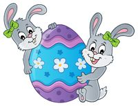 Easter egg and rabbits theme image 1