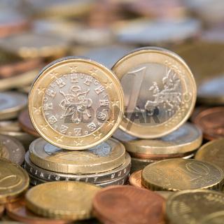 1 Euro Münze aus Portugal
