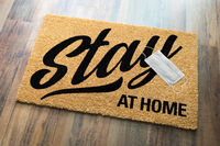 Stay At Home Welcome Mat with Medical Face Face Resting On Floor