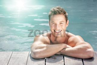 man at the pool