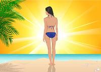 Mädchen das am Strand an einem sonnigen Tag steht