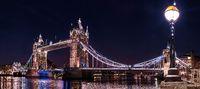 panoramic view on tower bridge in London at night