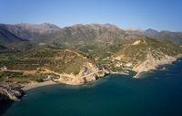 Aerial view on cretan village Almirida and Aliki beach. Crete, Greece.