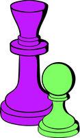 Chess king and chess pawn icon, icon cartoon