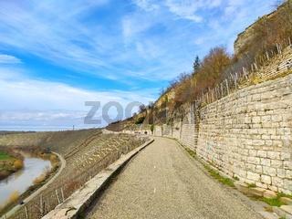 Path through vineyards near rocks of the Hessigheimer Felsengaerten with river Neckar in background